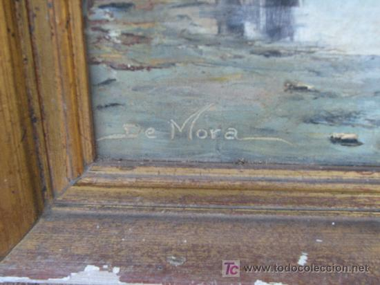 Antigüedades: Antiguo cuadro oleo sobre tela firmado. 81x41 - Foto 2 - 27086064