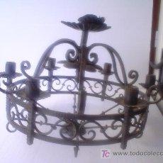 Antigüedades: PRECIOSA LAMPARA DE HIERRO. Lote 26602456