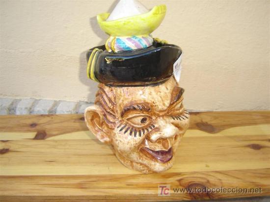 JARRA DE CERVESA,FIGURA CABEZA DE HOMBRE (Antigüedades - Porcelanas y Cerámicas - Otras)