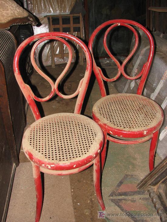 2 sillas tonet pintadas en rojo por restaurar c comprar - Restaurar sillas antiguas ...