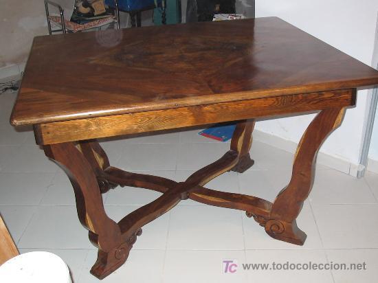 bonita mesa comedor antigua de madera de morera,restaurada profesionalmente!