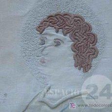 Antigüedades: UNICA MUY ANTIGUA PIEZA DE LINO BORDADO PARA MULTIPLES USOS .. Lote 27423026