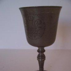 Antigüedades: COPA DE ESTAÑO INGLES: BODA DE CARLOS Y DIANA 1981 (EN INGLES) 14CM APROX. Lote 22032213