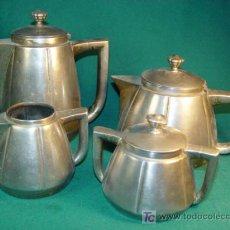 Antigüedades: SERVICIO DE CAFE ART DECO DE LATON PLATEADO - MARCAS EN LA BASE - AÑOS 1930 -. Lote 26918435