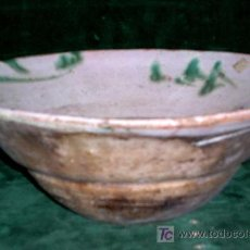 Antigüedades: CUENCO ANTIGUO SALMANTINO S/1800. CERÁMICA POPULAR MUY GRUESA. FORMA PROFUNDA. ENVÍO PAGO.. Lote 26596046