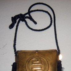 Antigüedades: ANTIGUO BOLSO DE COBRE CON UN CORDON NEGRO - MUY ELEGANTE DE EPOCA . Lote 23994206