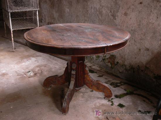 MESA REDONDA EXTENSIBLE DE NOGAL - PARA RESTAURAR (Antigüedades - Muebles Antiguos - Mesas Antiguas)