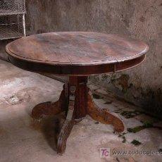 Antigüedades: MESA REDONDA EXTENSIBLE DE NOGAL - PARA RESTAURAR. Lote 26777952