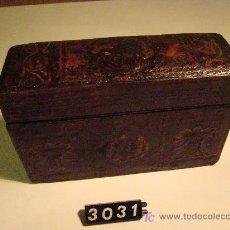 Antigüedades: CIGARRERA DE PIEL REPUJADA. Lote 7260309