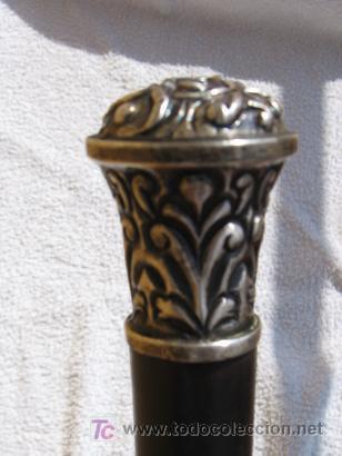 ANTIGUO BASTÓN (PLATA Y NOGAL) (Antigüedades - Moda - Bastones Antiguos)