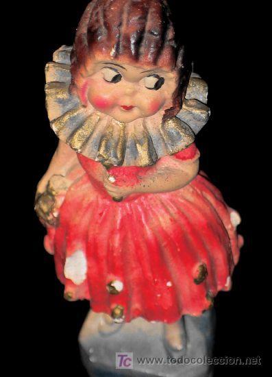 CURIOSA FIGURA DE YESO POLICROMADO. ANTIGUA (Antigüedades - Porcelanas y Cerámicas - Otras)