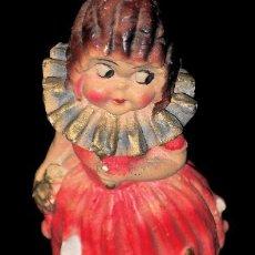 Antigüedades: CURIOSA FIGURA DE YESO POLICROMADO. ANTIGUA. Lote 24264384
