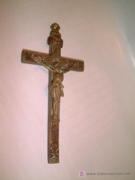 CRUCIFIJO DE FRAILE O DE LA BUENA MUERTE, LATON LAMINAS DE EBANO EMBUTIDAS FF.SG.XIX. 10 X 4,5 CM. (Antigüedades - Religiosas - Crucifijos Antiguos)