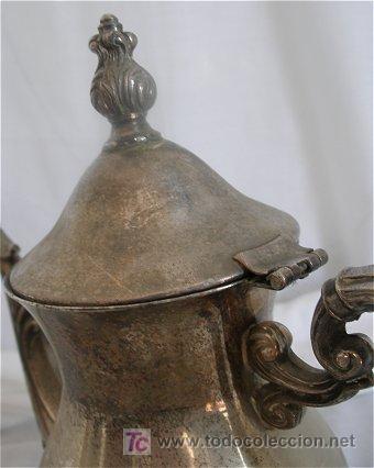 Antigüedades: CAFETERA DE ALPACA PLATEADA - Foto 3 - 19469151