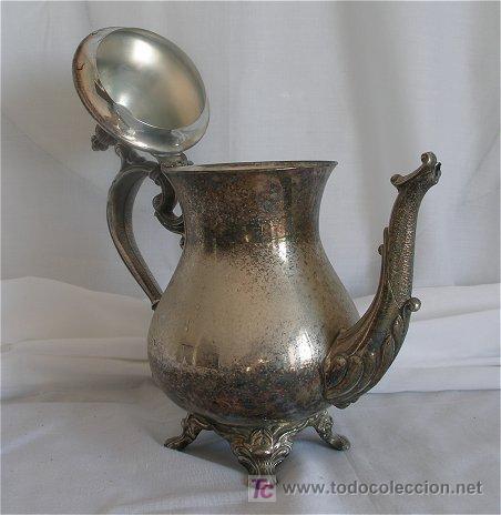 Antigüedades: CAFETERA DE ALPACA PLATEADA - Foto 4 - 19469151