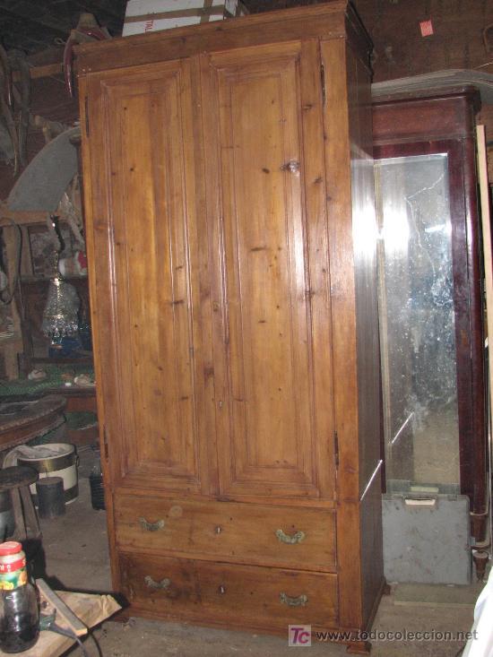 Gran armario rustico de madera de pino maciza r comprar armarios antiguos en todocoleccion - Muebles de pino rusticos ...