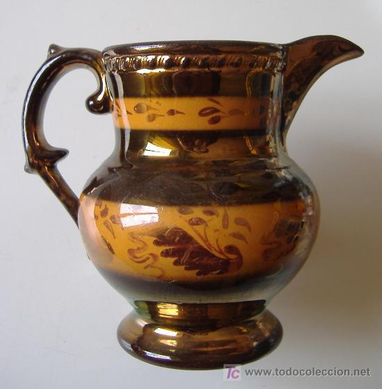 ANTIGUA JARRA INGLESA DE LUSTRE 'COPPER LUSTERWARE' (Antigüedades - Porcelanas y Cerámicas - Inglesa, Bristol y Otros)