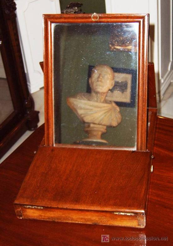 ESPEJO VICTORIANO DE SOBREMESA PARA VIAJE, MADERA DE CAOBA, SIGLO XIX (PLEGABLE) (Antigüedades - Muebles Antiguos - Espejos Antiguos)
