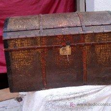 Antigüedades: BAUL MADERA Y CHAPA . Lote 7630808