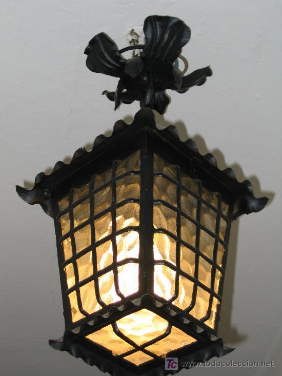 LÁMPARA FAROL DE HIERRO FORJADO (Antigüedades - Iluminación - Faroles Antiguos)