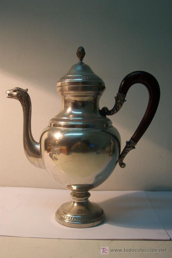 Antigüedades: Juego servicio de café en estaño - Foto 5 - 27024773