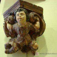 Antigüedades: TALLA EN MADERA POLICROMADA MENSULA S.XVIII. Lote 24920606
