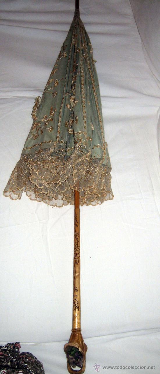 Antigüedades: ANTIGUA Y PRECIOSA SOMBRILLA DEL SIGLO XIX - ELEGANTISIMA SOMBRILLA DE SEDA AZUL CELESTE CON ENCAJE - Foto 10 - 27616807