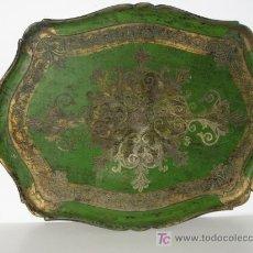 Antigüedades: BANDEJA ANTIGUA DE MADERA PINTADA. 60X39CM.. Lote 24886575