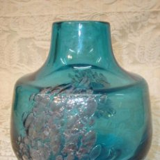 Antigüedades: JARRON DE MURANO AZUL MAR CON BURBUJAS. Lote 8324440