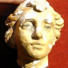 Antigüedades: ROSTRO DE MUJER POLICROMADA, MEDIDA 6X5X6 CM. S.XV. Lote 25644061