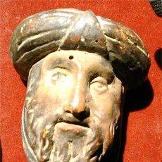 Antigüedades: ROSTRO DE HOMBRE CON BARBA Y TURBANTE, DE MADERA POLICROMADA. MEDIDA7,7X6,5X3,9 CM. SXVI. Lote 23672743