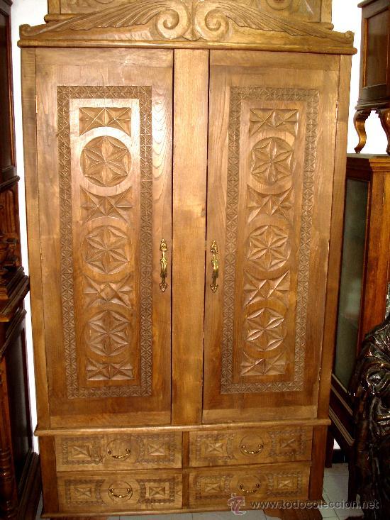 Armario de casta o tallado de dos puertas y 4 c comprar armarios antiguos en todocoleccion - Puertas de castano ...