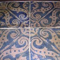 Antigüedades: AZULEJOS, CUADRO GOTICOS S.XVI, DECORADAS EN AZUL Y REALIZADAS EN TREPA, ( ORIGINALES ). Lote 23230480