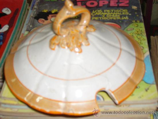 Antigüedades: SOPERA BLANCA CON LINEAS NARANJAS - Foto 2 - 26242129