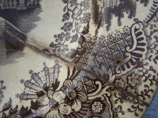 Antigüedades: FUENTE PICKMAN Y CIA (LA CARTUJA, SEVILLA). SELLO EN BASE. 32.5X26.5. CON LAÑAS. VER FOTOS. - Foto 3 - 27513327