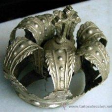 Antigüedades: ANTIGUA CORONA DE VIRGEN, EN PLATA MACIZA. MEDIDA 8,5 CM X 7 CM DIAMETRO INFERIOR. MENESES.. Lote 25790791