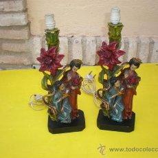 Antigüedades: PAREJA DE LAMPARA DE MESILLA RECINA. Lote 8633910