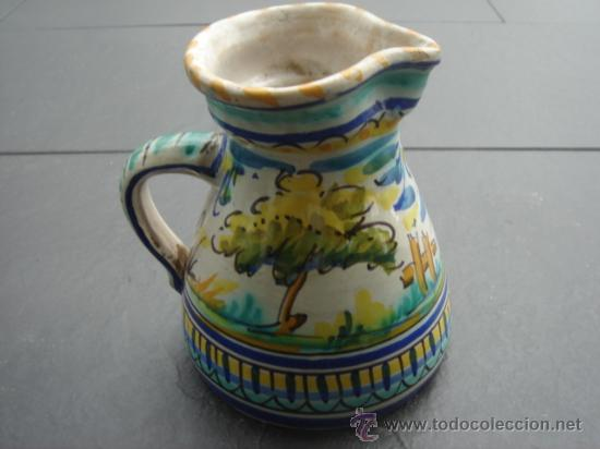 Antigüedades: JARRA PINTADA A MANO DE TRIANA (SEVILLA). ALTO: 16 CMS. BOCA:10 CMS. BASE: 13.5 CMS. - Foto 3 - 27007252