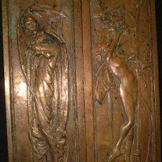 Antigüedades: DOS PLACAS EN ALTORRELIEVE DE BRONCE, FF.SG.XIX -PP.SG.XX. ART NOUVEAU. 32 CM. X 8 CM.. Lote 52867992