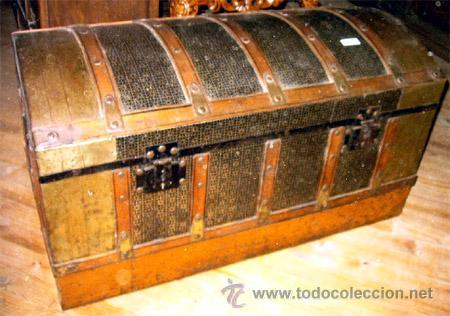 Antiguo Baul De Chapa Y Maderatodo Original Y Comprar Baules - Baules-antiguos