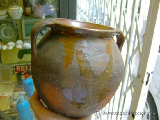 ANTIGUA OLLA DE BARRO CON ASAS APROX 1940/50 (Antigüedades - Porcelanas y Cerámicas - Otras)