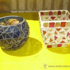 Antigüedades: 2 PEQUEÑOS MACETEROS DE CRISTALES. Lote 8870080
