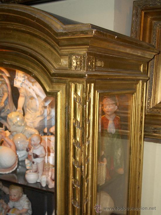 Antigüedades: EXCEPCIONAL Y COLOCABLE VITRINA DORADA NEOCLASICA ORO FINO, XIX, PIEZA DE MUSEO - Foto 4 - 27420742