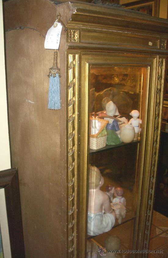 Antigüedades: EXCEPCIONAL Y COLOCABLE VITRINA DORADA NEOCLASICA ORO FINO, XIX, PIEZA DE MUSEO - Foto 6 - 27420742