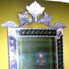 Antigüedades: ESPEJO CRISTAL LABRADO Y TALLADO SOBRE LUNA VENECIA. ESTILO ISABELINO. ANTIGUO. Y DETALLES. Lote 26355446