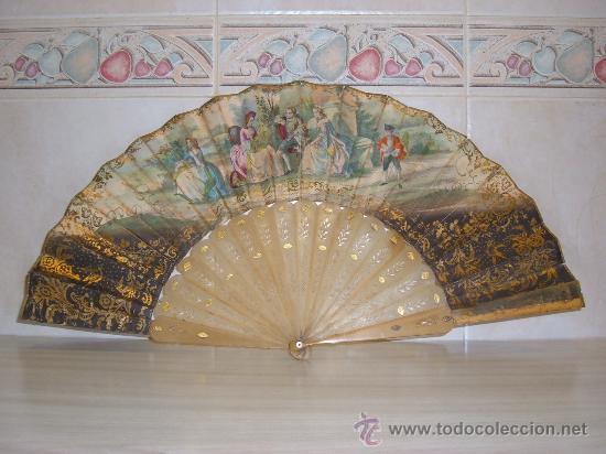 ABANICO MITAD S XIX,VARILLAS DE ASTA (Antigüedades - Moda - Abanicos Antiguos)