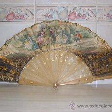 Antigüedades: ABANICO MITAD S XIX,VARILLAS DE ASTA. Lote 26291550