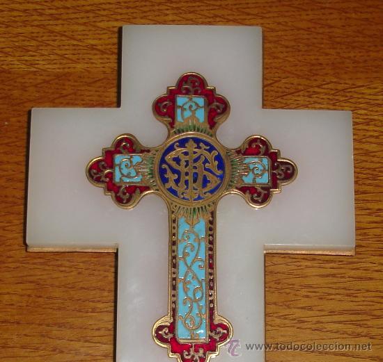 Antigüedades: antigua cruz benditera de esmalte y bronce s.XIX - Foto 2 - 17404619