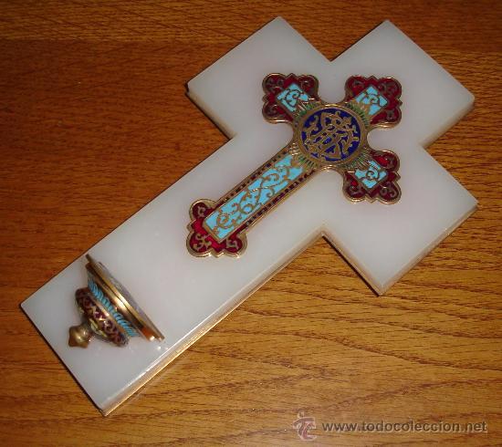Antigüedades: antigua cruz benditera de esmalte y bronce s.XIX - Foto 4 - 17404619
