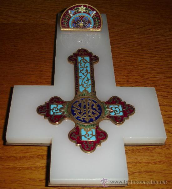 Antigüedades: antigua cruz benditera de esmalte y bronce s.XIX - Foto 7 - 17404619